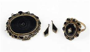 A Group Of Victorian Onyx Jewelry