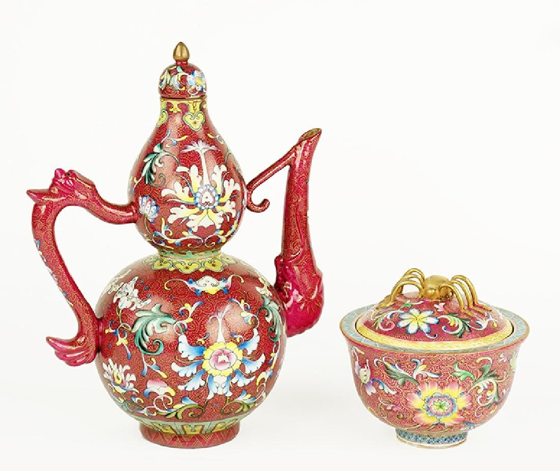 Two Qing Dynasty Painted Porcelain Items.