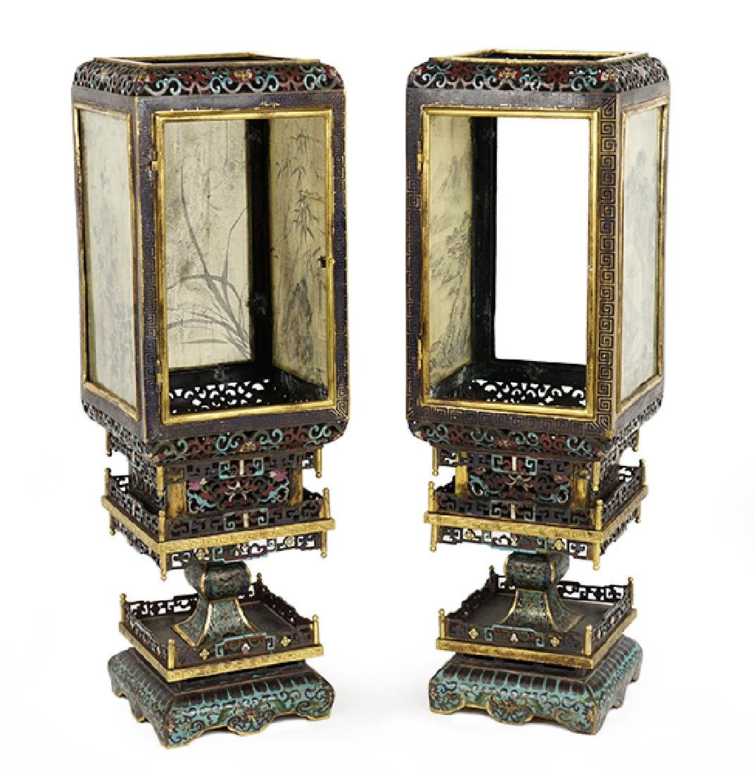 A Pair of Chinese Gilt Bronze Cloisonne Lanterns.