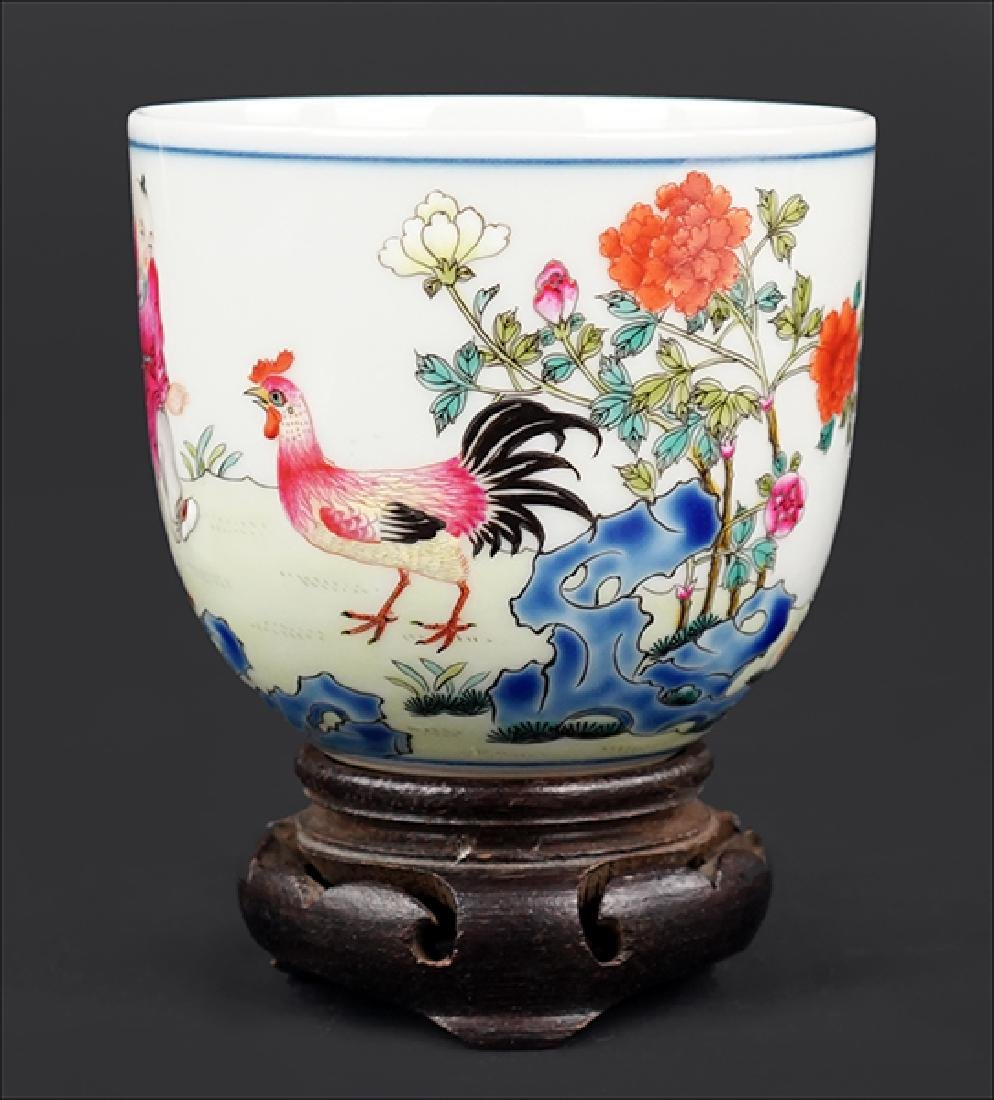 A Chinese Famille Rose Porcelain Chicken Cup.