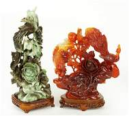 A Chinese Carved Spinach Jade Figural Group