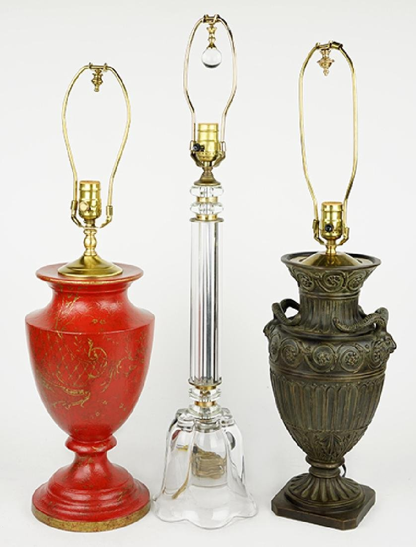 A Group Of Three Table Lamps.