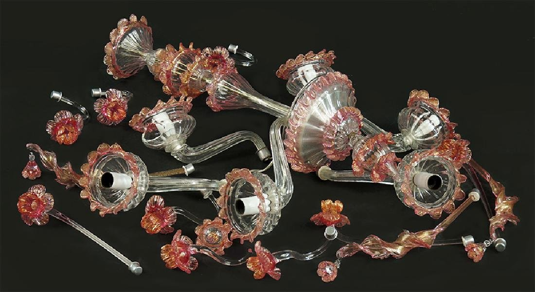 A Venetian Glass Chandelier.