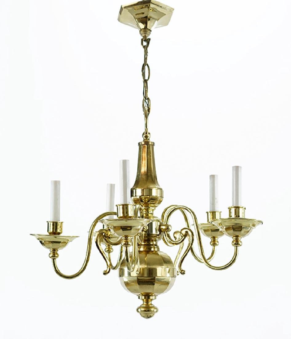 A Brass Five-Light Chandelier.