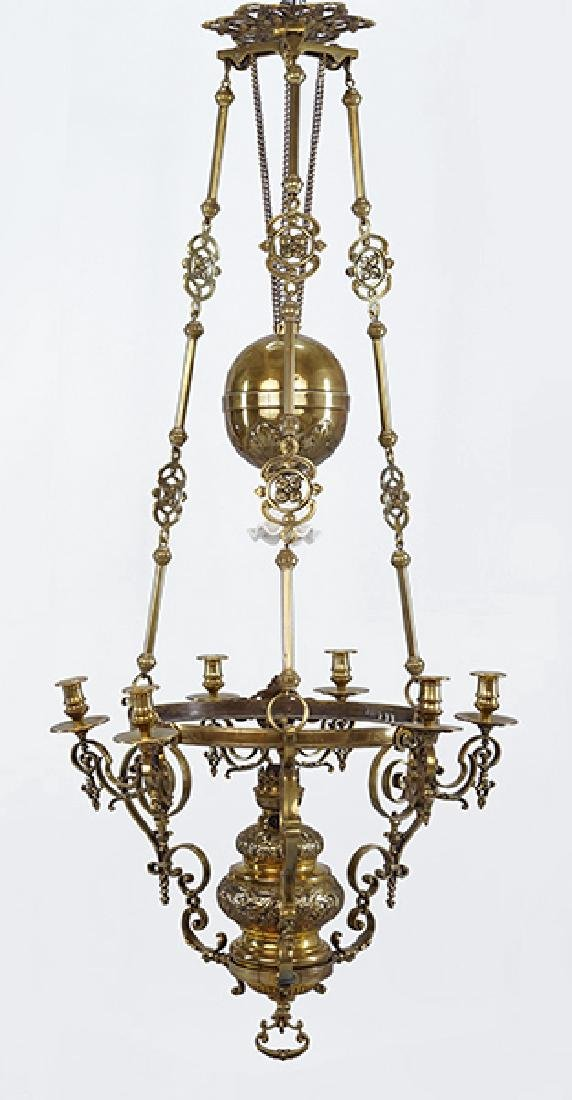 A Dutch Brass Chandelier.