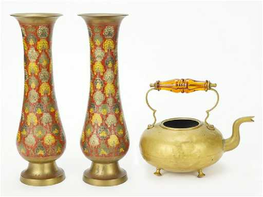 A Pair Of Indian Enameled Brass Vases