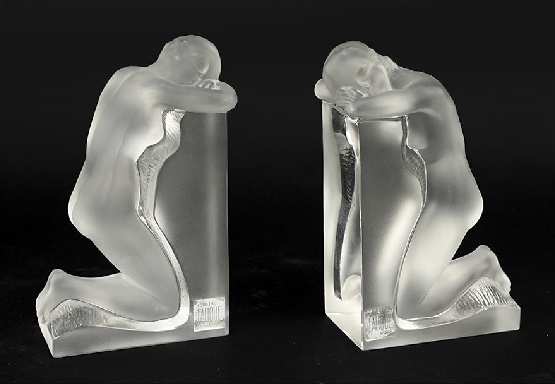 A Pair Of Lalique 'Reverie' Bookends.