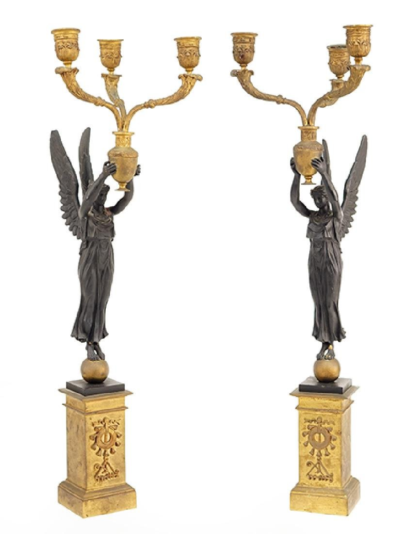 A Pair of French Empire Style Candelabra.