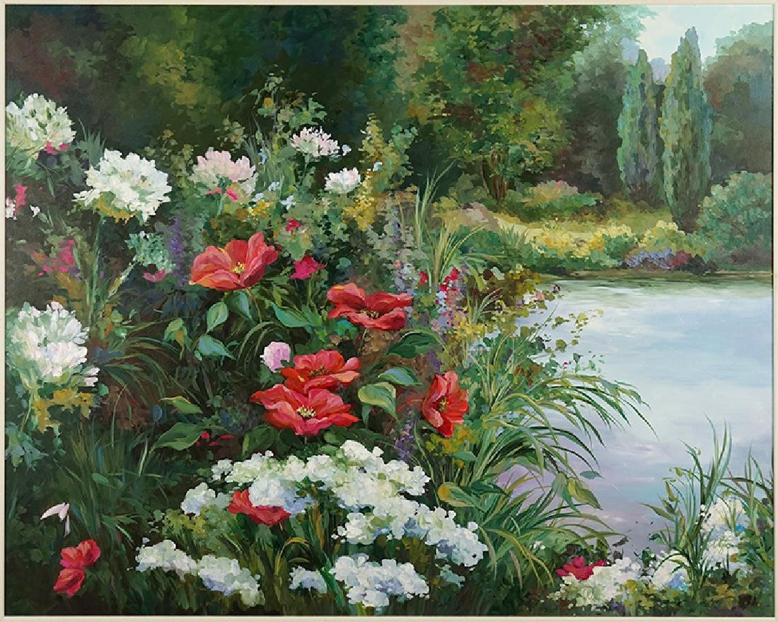 Stefan (American, 20th Century) Flowers at Pond's Edge.