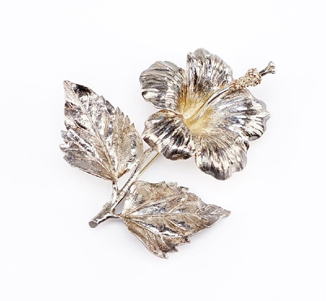 A Sterling Silver Hibiscus Brooch.