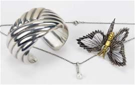 An Italian Sterling Silver Cuff Bracelet.