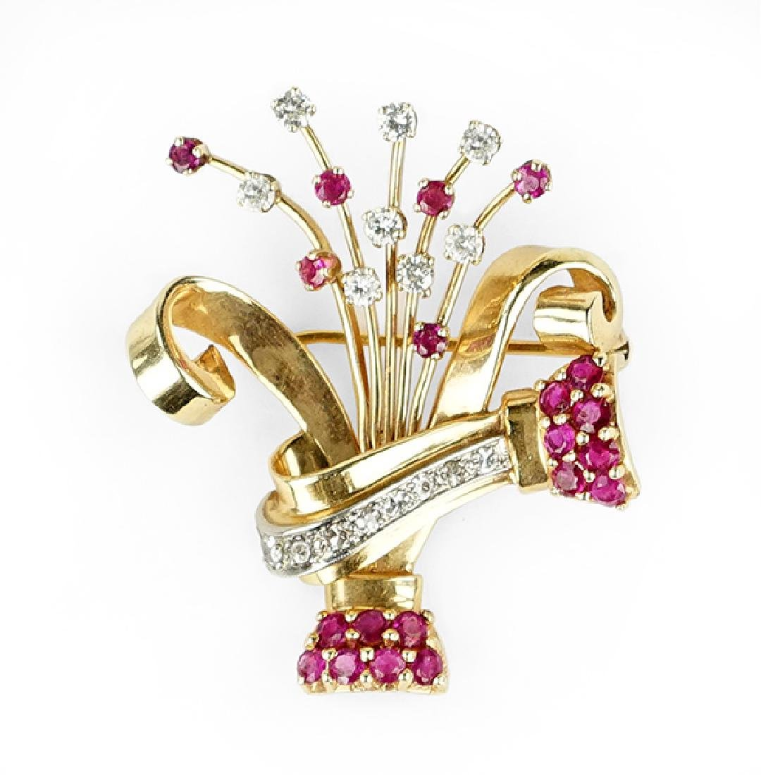 A Retro Ruby and Diamond Brooch.