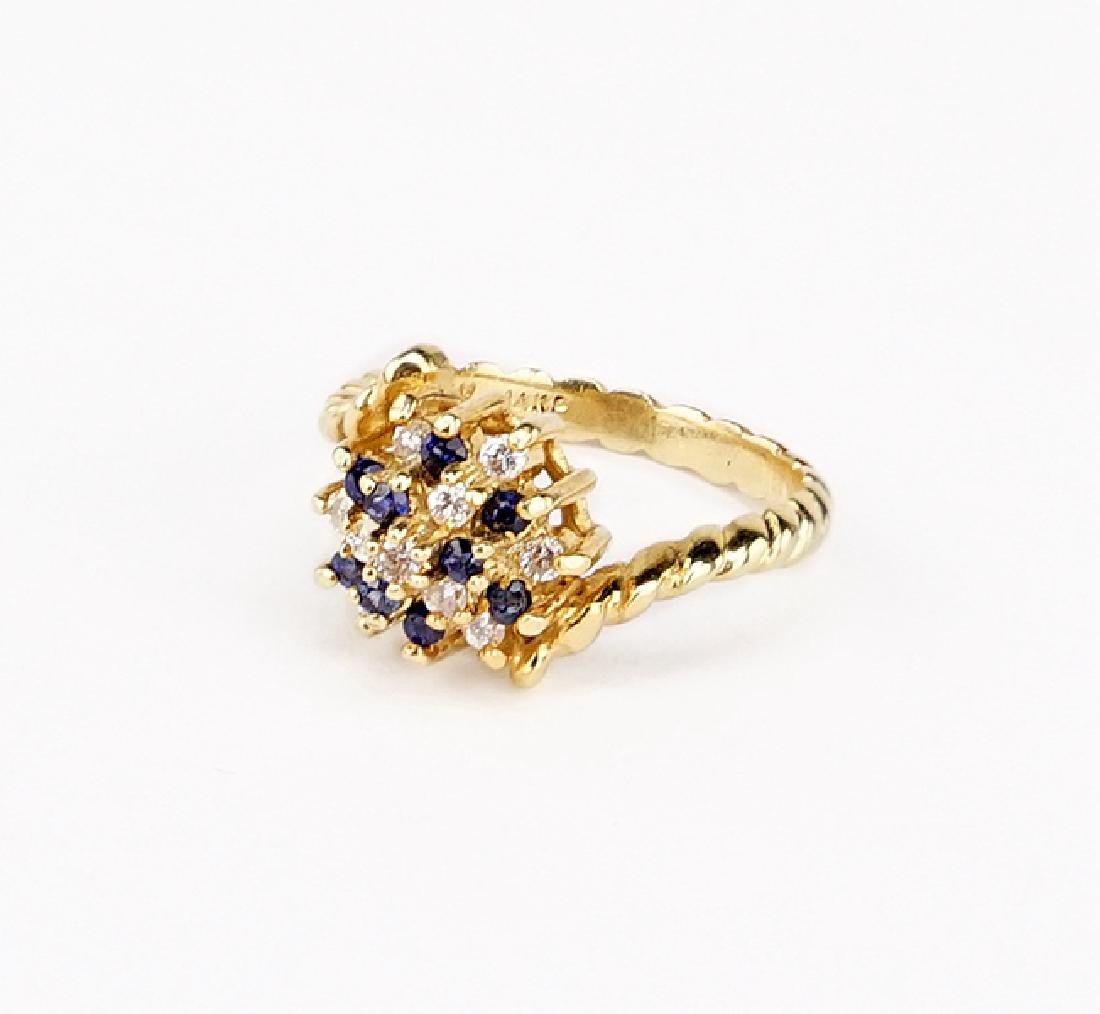 A Sapphire and Diamond Ring.