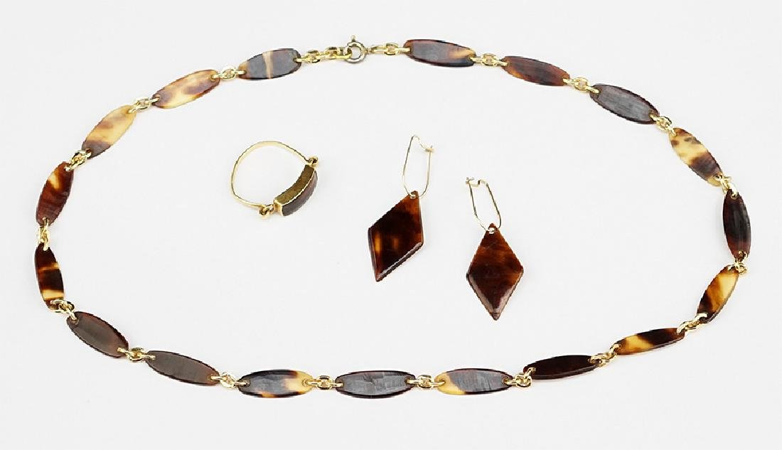 A Suite of Tortoise Shell Jewelry.