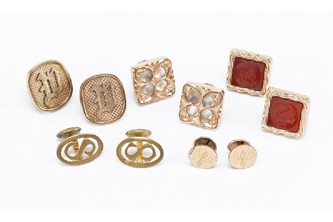 Five Pairs of Victorian Goldfilled Cufflinks.