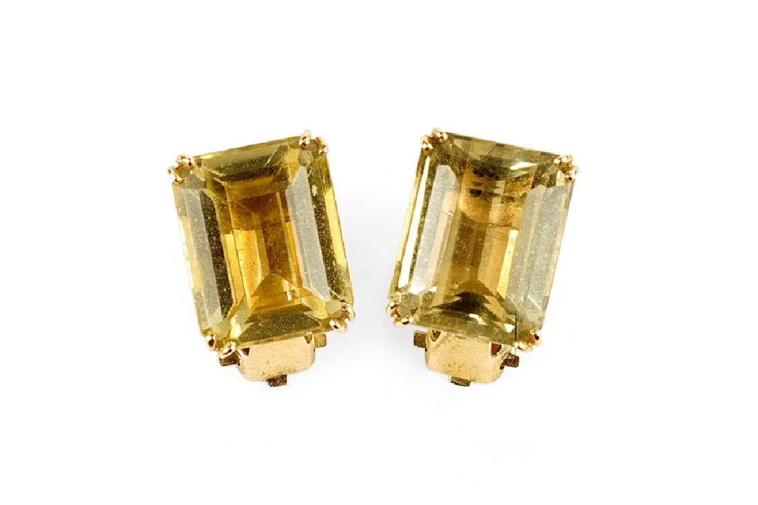 A Pair of Citrine and 14 Karat Gold Earclips.