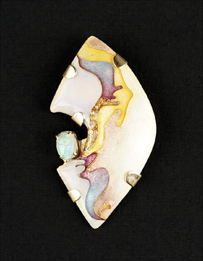 An Opal and Enamel Brooch / Pendant.