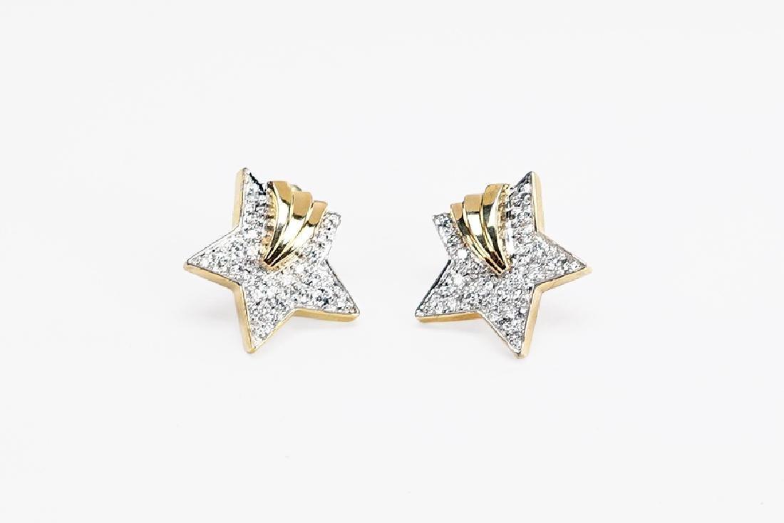 A Pair of Diamond Star Earrings.