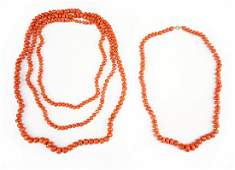Two Graduated Coral Bead Necklaces.