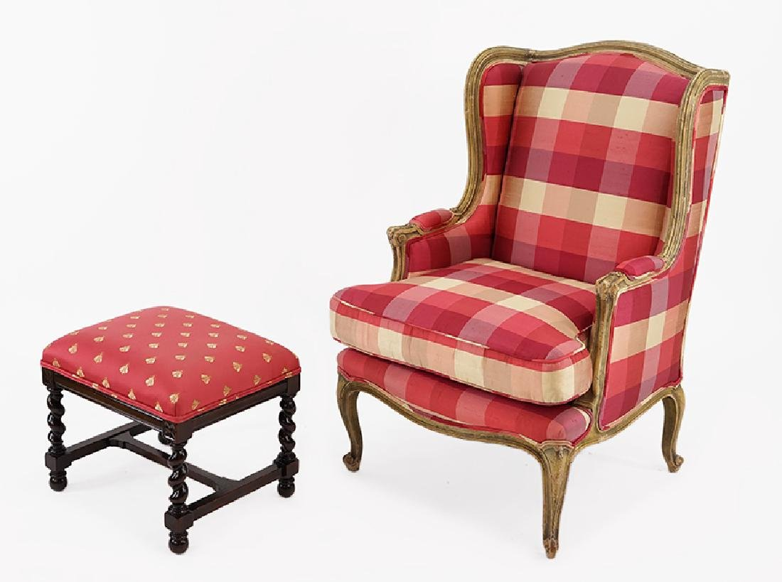 A French Provincial Style Wingback Chair.