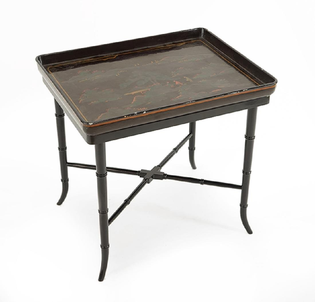 A Chinoiserie Black Lacquered Tray Table.