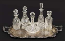 A Collection of Five Waterford Crystal Decanters