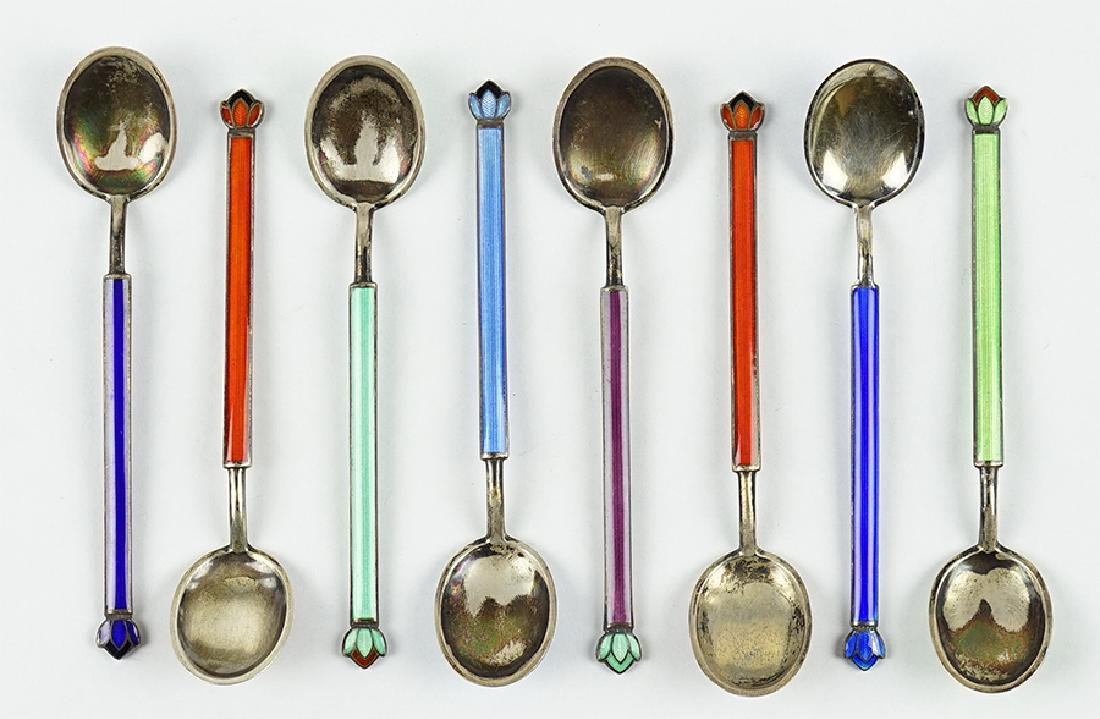 A Set of Eight David Andersen Demitasse Spoons.
