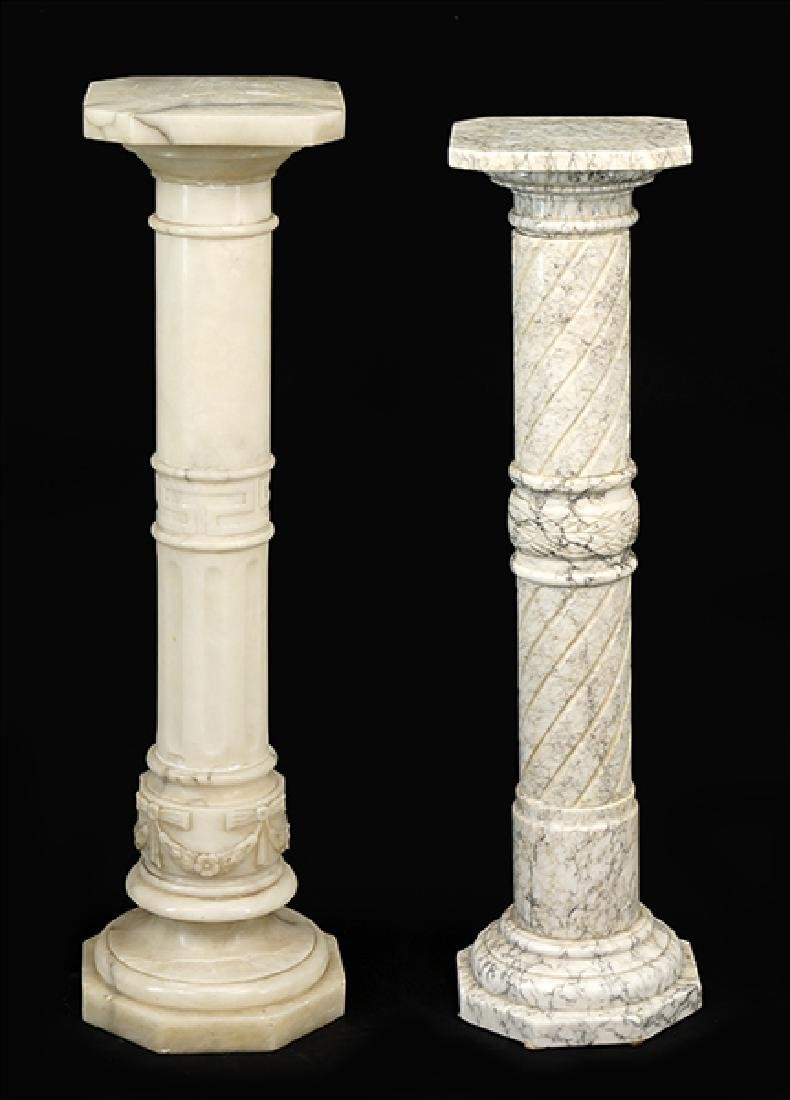 Two Carved Marble Pedestals.