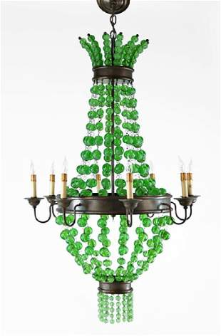 A Patinated Metal Eight-Light Chandelier.