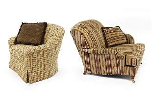 Two Upholstered Armchairs.