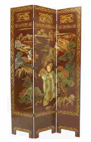 A Chinese Three-Panel Floor Screen.