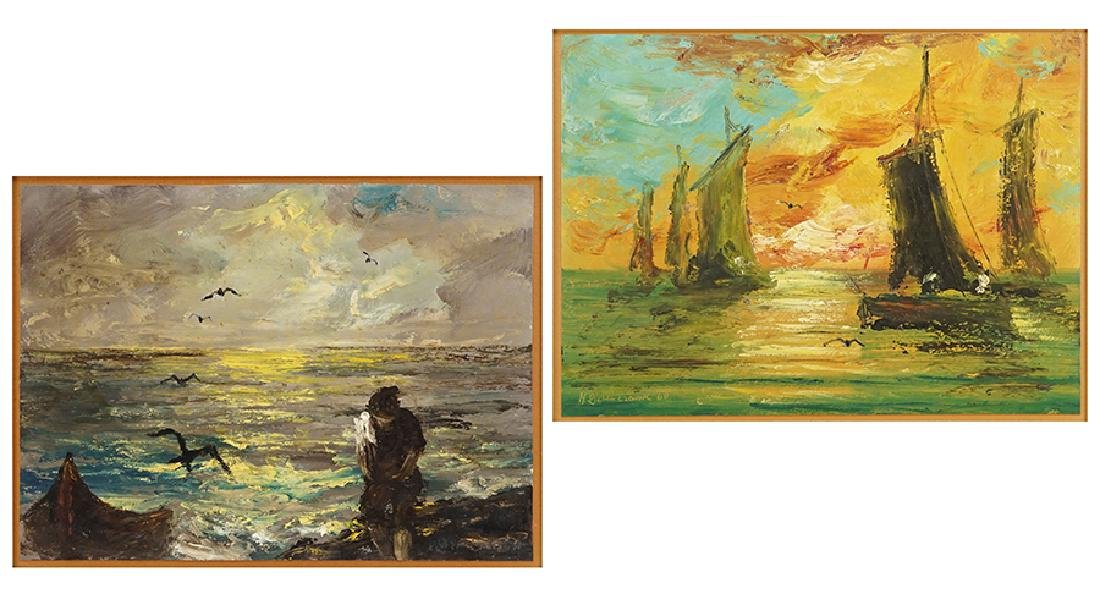 Artist Unknown (20th Century) Two Seascapes.