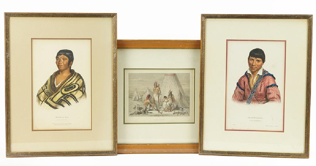 Three Hand Colored Engravings.