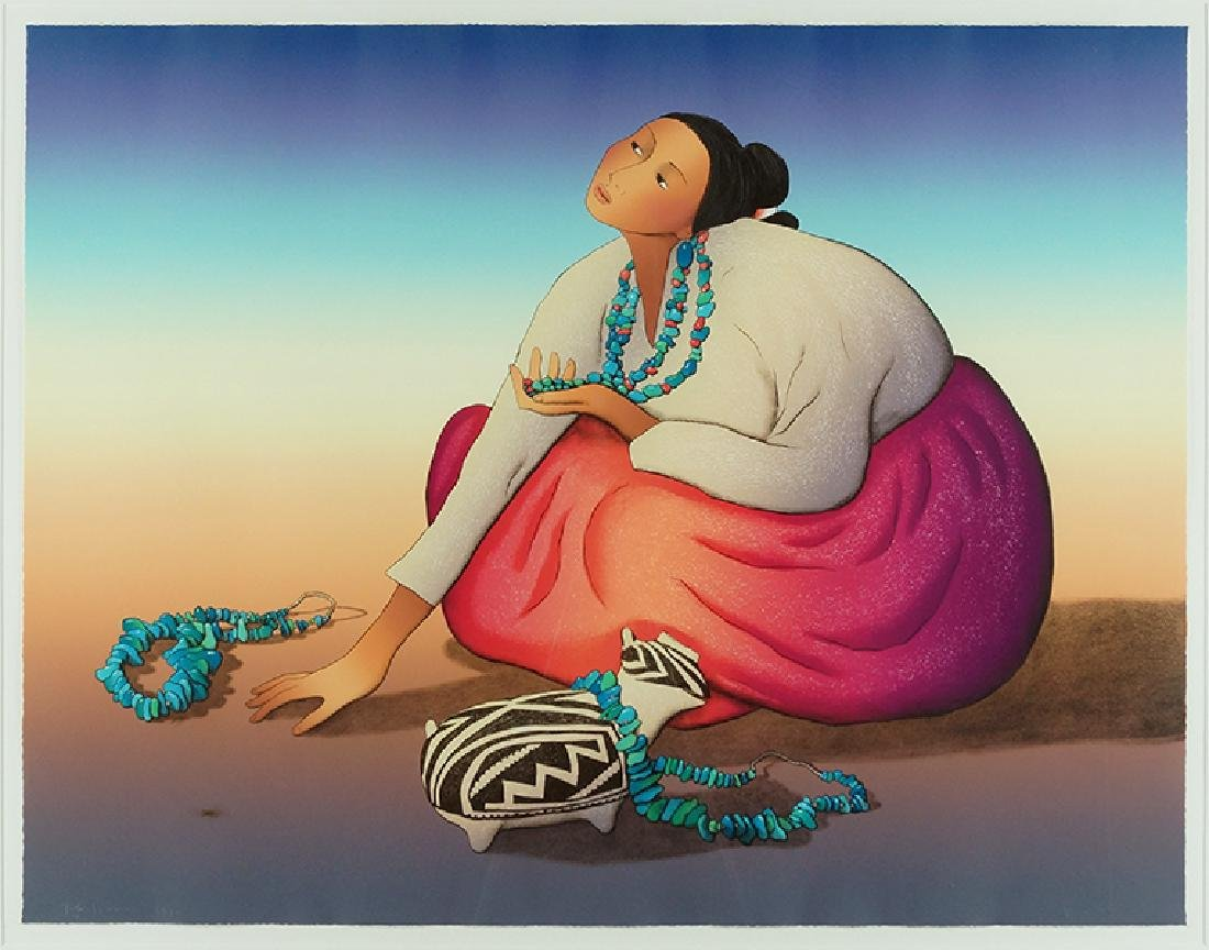 R.C. Gorman (American, 1931-2005) The Turquoise Lady.