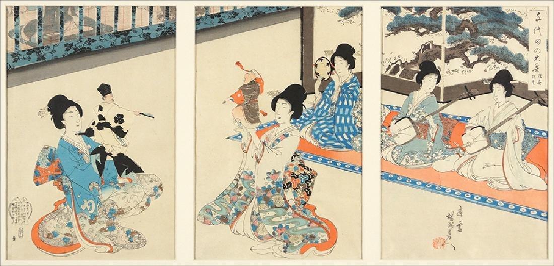 Toyohara Chikanobu (Japanese, 1838-1912) Women Making