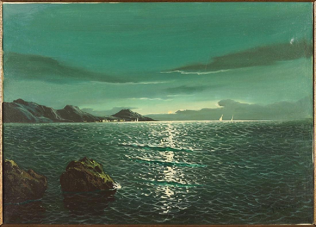 Gustoin (20th Century) Moonlit Bay.