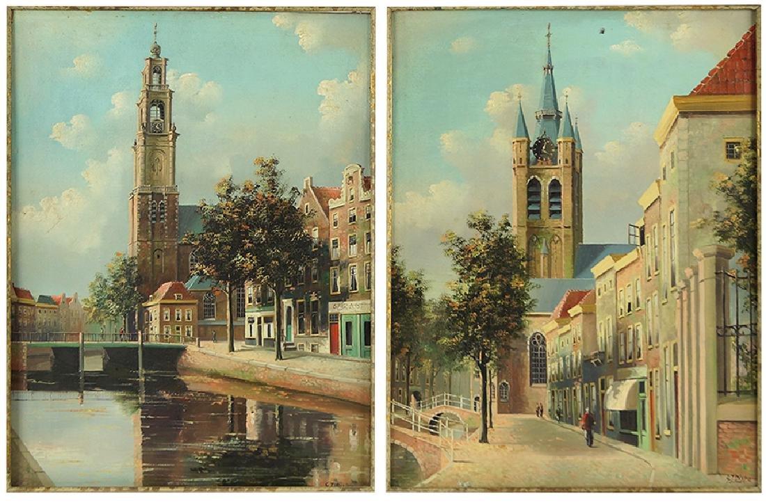 George Jan Dispo (Danish, 1922-1973) Two Canal Scenes.