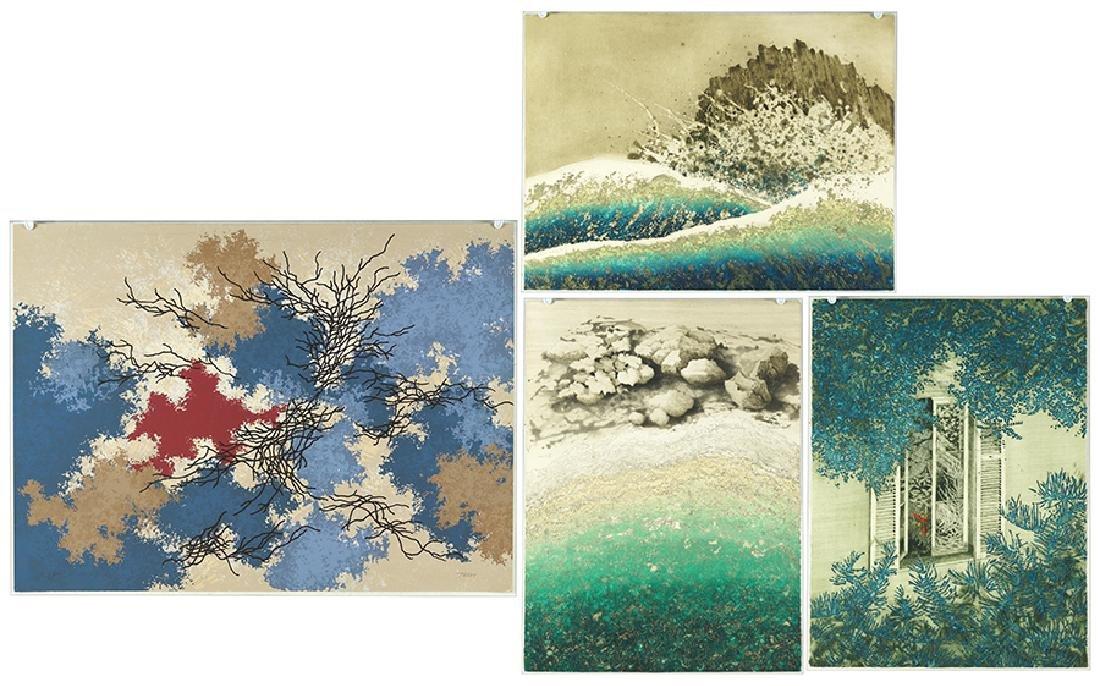 Yannick Ballif (French, 1927-2009) Four Color Prints.