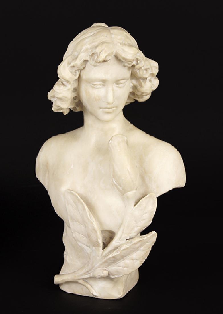 A Carved Alabaster Bust.