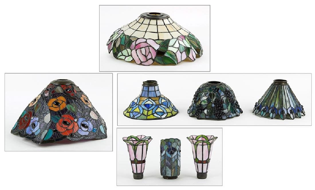 A Collection Of Leaded Glass Shades.