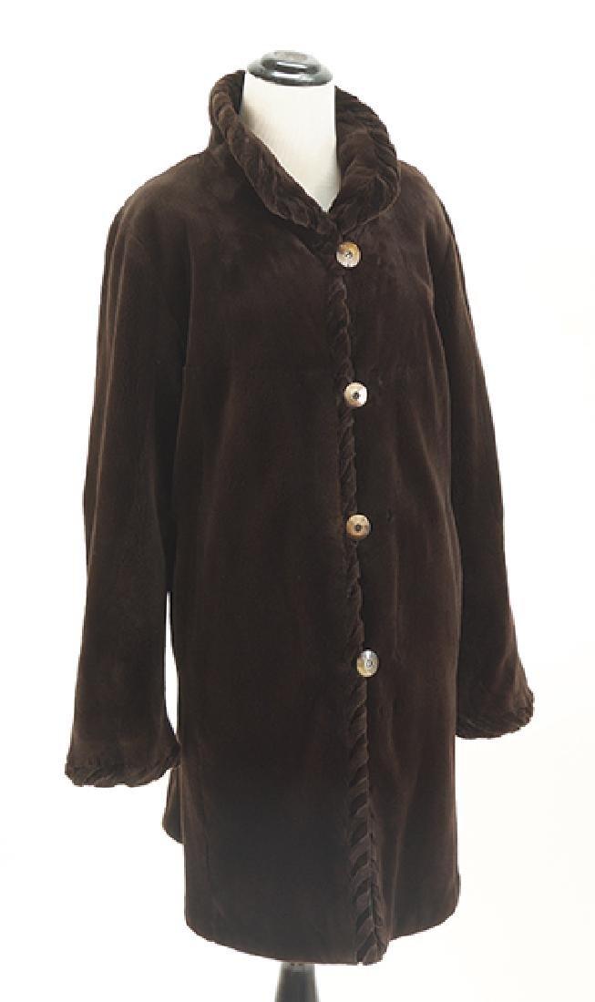 A Reversible Sheared Mink 3/4 Length Coat.