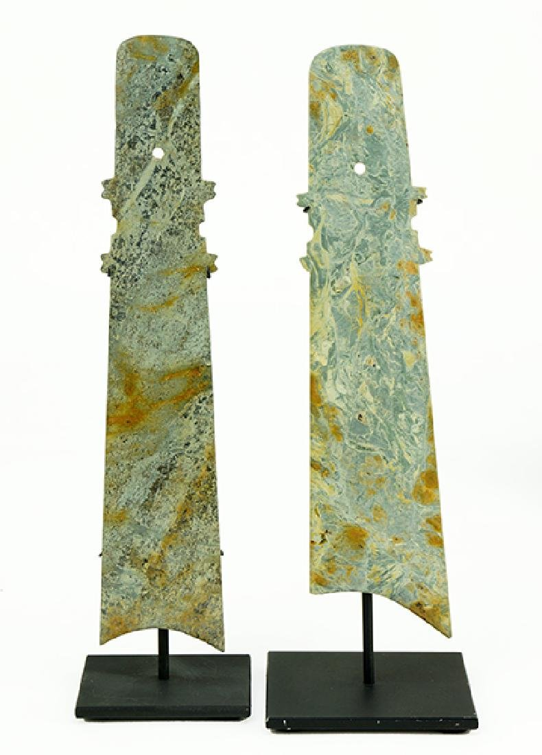 Two Chinese Carved Stone Blades.