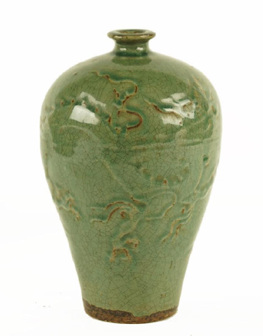 A Chinese Celadon Glazed Meiping Vase.