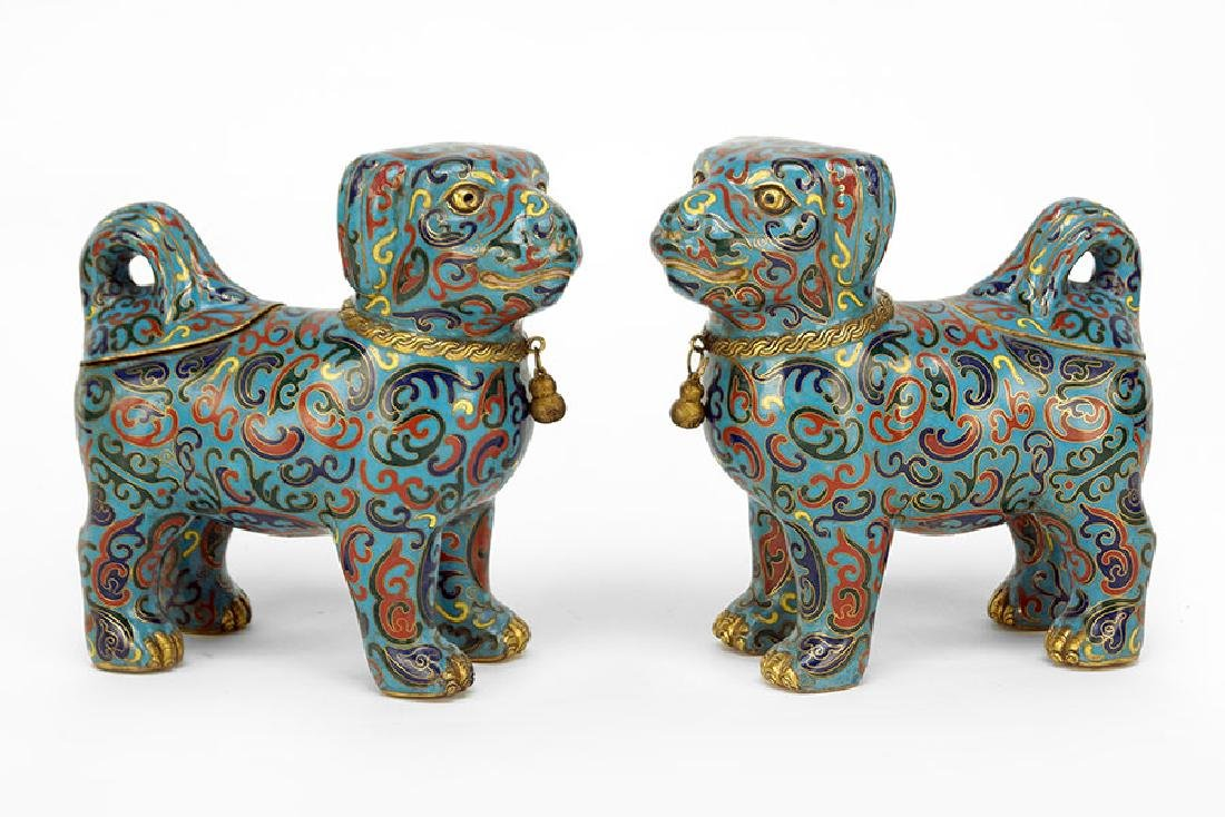 A Pair of Chinese Cloisonne Dog Form Vessels.