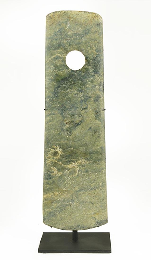 A Chinese Chisel Form Jade Axe Head.