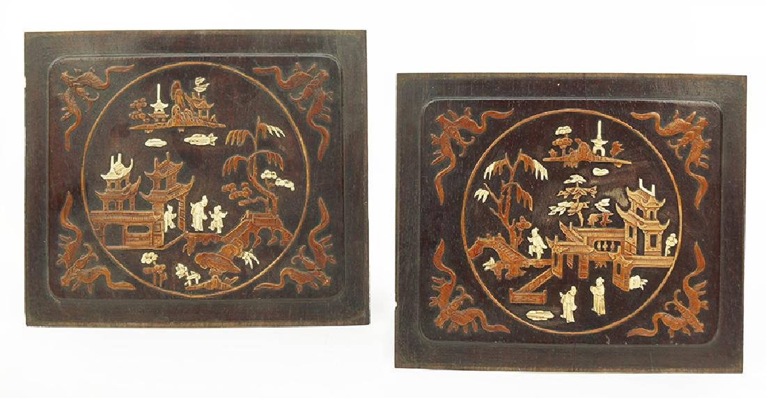 A Pair of Japanese Wood Panels.