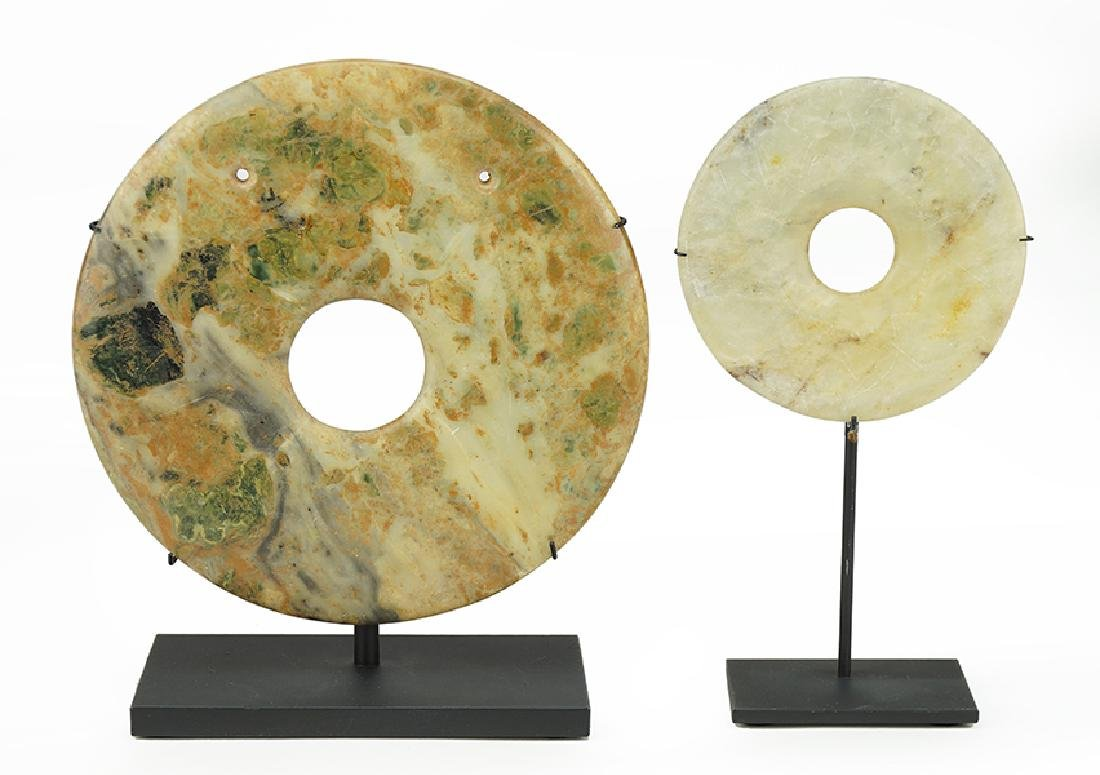 Two Chinese Stone Bi Disks.