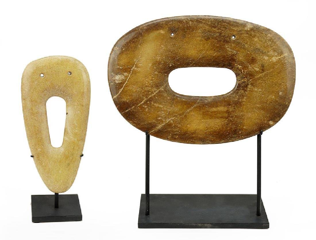 Two Chinese Carved Stone Axe Heads.