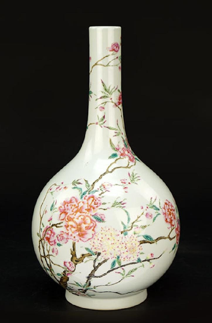 A Chinese Famille Rose Porcelain Bottle Vase.