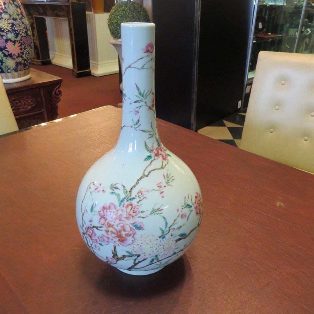 A Chinese Famille Rose Porcelain Bottle Vase. - 3